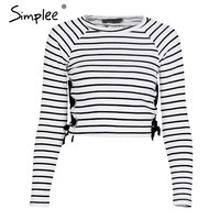 Striped blouse shirt women tops Long sleeve lace up knitted shirts Casual street wear top female