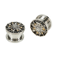 Steel Silver & Gold Sun & Moon Spool Plug 2 Pack