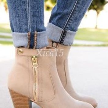 Women's Chunky Heel Ankle Boots Zip Up Faux Suede Almond Toe Booties New