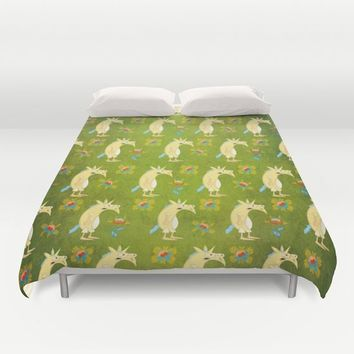 Flowers & Unicorns Duvet Cover by That's So Unicorny