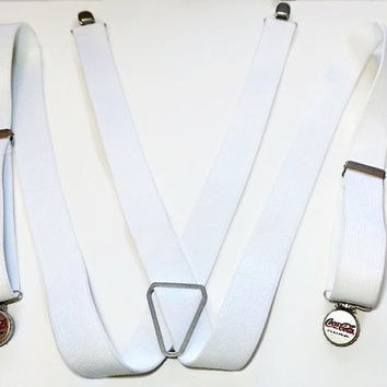 Vintage White Suspenders,Coca Cola Bottle Cap Suspenders,White Elastic Braces,X Back Braces,White Suspenders,Pop Bottle Grips,Novelty Braces