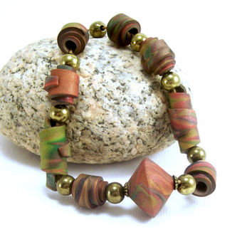 Polymer Clay Jewelry Necklace - Rolled Bead Necklace - Earth Tone Necklace - Boho Abstract Necklace - Artisan Handmade - Rustic Necklace