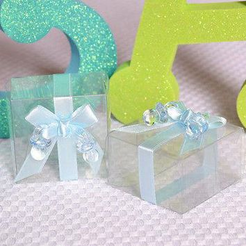 6 Clear Cute Baby Shower Favor Boxes with Blue Ribbon and Pacifier Gift Kit