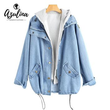 AZULINA Plus Size Buttons Hooded Denim Jacket Jeans Jackets Women Coat Autumn Outwear Pockets Wide-Waisted Ladies Tops Overcoat