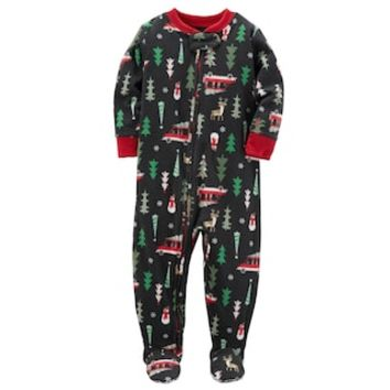 Baby Boy Carter's Holiday Patterned Microfleece One-Piece Pajamas | null
