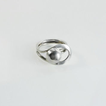 Modernist Loop & Ball Silver Ring Size 6.5 - Taxco Minimalist Sterling Ring - Silver Ball Ring - Silver Loop Ring - Mexican Sterling Ring