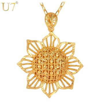 Sun Flower Pendant Necklace