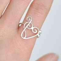 heart RING. treble clef bass clef.  Love of Music design.