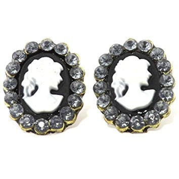 Romantic Cameo Stud Earrings Gold Tone Black Oval Fashion Jewelry