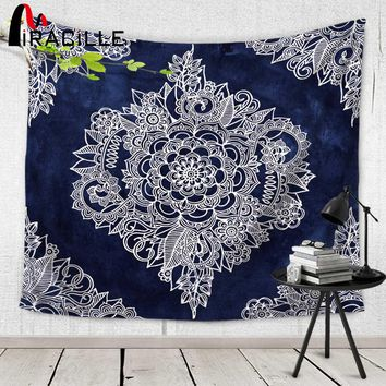 Miracille Cream Floral Moroccan Pattern Wall Tapestry Polyester Fabric Home Hanging Decorative Tapestries LivingRoom Bedspread