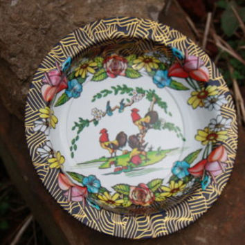 Retro Vintage Tin Chicken Roosters Serving Bowl Dish Brazil