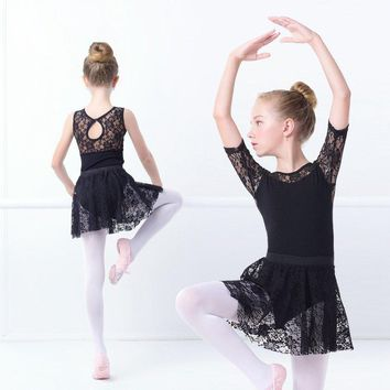 Girls Ballet Dress Gymnastic Leotards Lace Skirted Leotards Long Sleeve Kids Toddler Gymnastic Swimsuit For Dancing