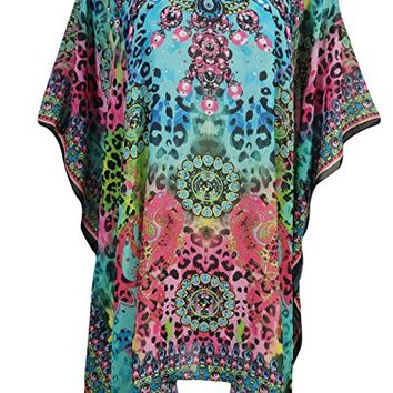 Mogul Interior Womens Serena Caftan Short Dresses Rhinestone Flowy Resort Wear Swimsuit Coverup One Size