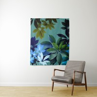 Green,Blue Leaves Art Wall Tapestry