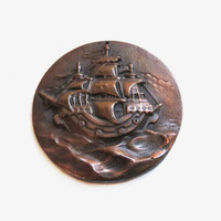Copper Nautical Ship Wall Hanging / Ornament, Vintage Art