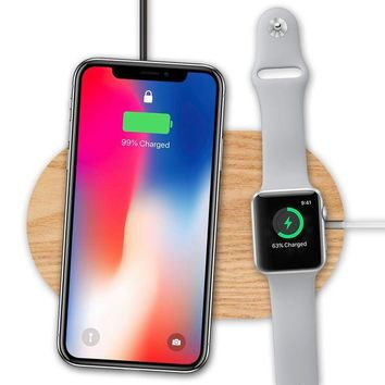 ONETOW Wood Wireless Charger & Apple Watch Stand, OLVOO Fast Qi Wireless Charging Pad for Apple iPhone X/ iPhone 8/8 Plus, Samsung Galaxy Note 8/ S8 / S8+ and All Qi-Enabled Device (Pad)