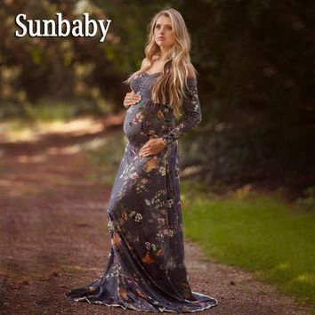 Sunbaby Elegant Fashion Long Sleeve Gray Floral Shoulderless maternity dresses photography clothes for pregnant women
