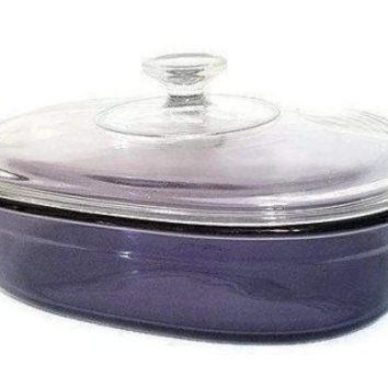 Pyrex Visions Amethyst Purple Oblong Roaster Roasting Pan With Lid Large 2 QT Casserole