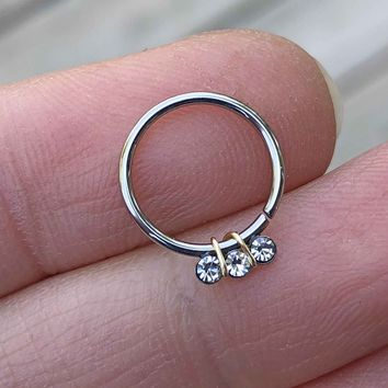 Silver Triple Crystal Daith Hoop Ring Rook Hoop Cartilage Helix Tragus