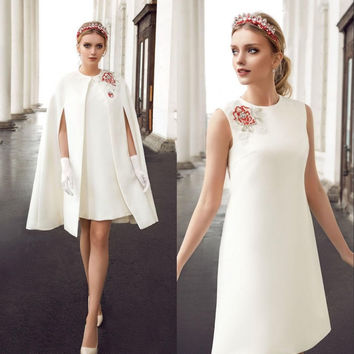 Short White Cocktail Dresses 2016 with Cape Appliques Women Coctail Prom for Graduation Party Dress jurk vestido de festa curto