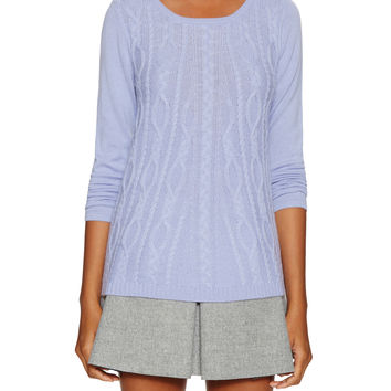Elorie Women's Cashmere Cable Swing Sweater - Purple -