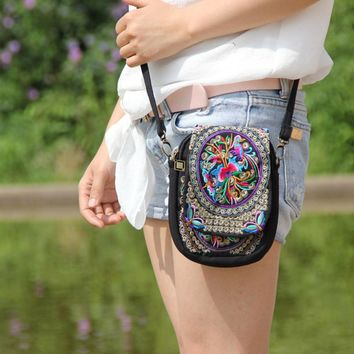 Boho Ethnic Embroidery Bag Vintage Embroidered Canvas Cover Shoulder Messenger Bags
