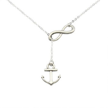 ELBLUVF® Silver Plated Zinic Alloy Handmade Anchor and Infinity Lariat Y Necklace 18inches