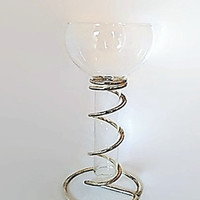 DAVCO SILVER LTD Candle Holder |  Wine Clear Glass & Silver Spiral Frame |  Unique Decor |  Vintage Candle Holder |  Wine Glass Candleholder