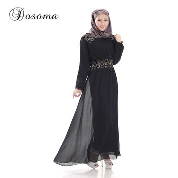 Muslim Women Chiffon Maxi Dress Embroidery Abaya Kimono Islamic Robe Burka Vestidos Pattern Dubai Instant Hijab Prayer Clothing