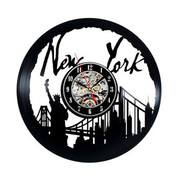 New York City Black Hollow Vinyl Record Antique Style Hanging LED Wall Clock