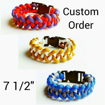 "Custom Paracord Bracelet 7.5""- Survival Bracelet - Camping Gear - Emergency Bracelet- Military Bracelet- 550 Paracord- Custom Christmas Gift"