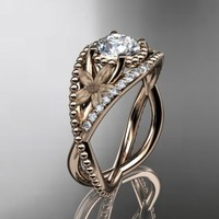14kt rose gold diamond floral wedding ring,engagement ring ADLR88...... | AnjaysDesigns - Jewelry on ArtFire