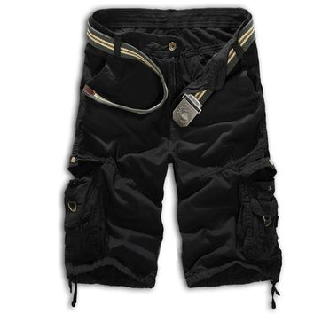 Men Casual Army Combat Camo Camouflage Overall Shorts