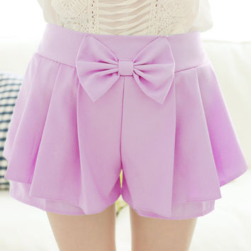7 Colors Kawaii Sweet Cute Preppy style Soft Candy color shorts bow summer pleated elastic waist casual shorts for women girls