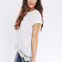 Knit Crochet Trim Top- Ivory