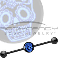 Black Blue Sugar Skull Industrial Barbell | Body Candy Body Jewelry