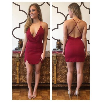Red Plunging Cross-back Asymmetric Mini Dress