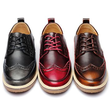 Men Causal Shoes For 2017 Autumn Fashion Genuine Cow Leather Lace Up Brogue Mens Business Work Casual Shoes Black Brown