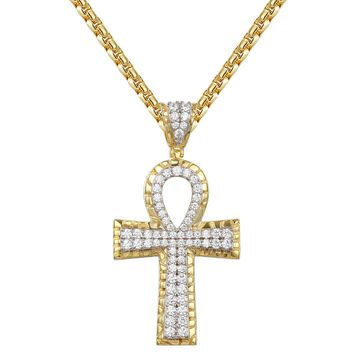 Sterling Silver Nugget Design Ankh Cross Pendant Chain