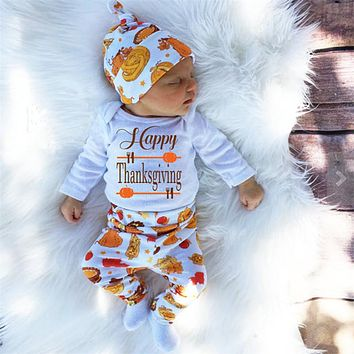Children Thanksgiving Clohtes  New born Bodysuit  Baby Boy T shirt 3 pcs Suit Girl Outfits Pants Clothes Costume