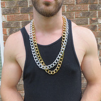 32 Inch Gold or Silver Curb Chain Men's Necklace - Urban Edgy Hip Hipster Long Thick and Chunky Large Link Chain Jewelry