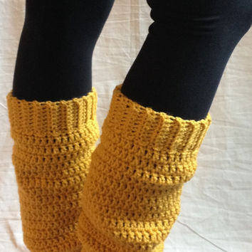 Cozy crochet leg warmers in mustard