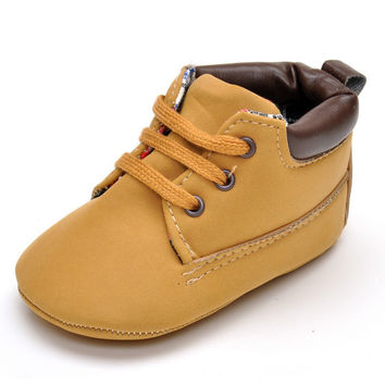 0-18M Soft Newborn Baby Moccasins Toddler Girls Tan Boots Fashion Baby Boy Shoes First Walker Free Shipping
