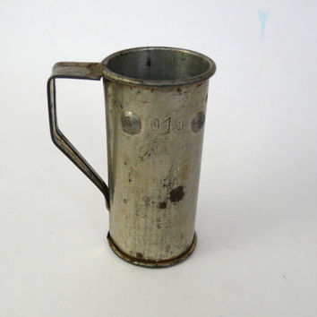 Vintage Old metal Beaker miniature measure for liquid or alcohol 100 ml Bulgarian measuring cylinder MEASURING-JUG
