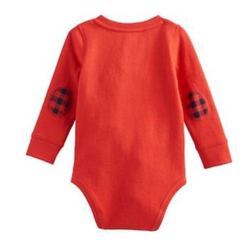 DCCKX8J Baby Boy Jumping Beans® Thermal Elbow Patch Henley Bodysuit | null