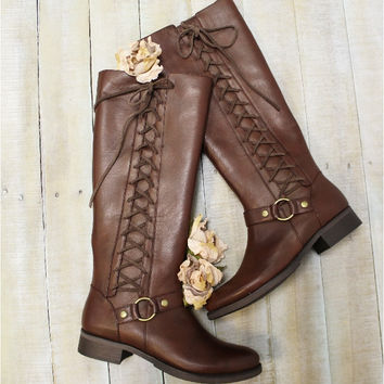 Sterling Boots, side lace up boot, tall boots, fall boots, women's boot BROWN   SB1