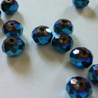 Czech Glass Beads | Rondelle Beads | Faceted Blue Beads | Jewelry Supplies | Destash