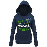 Seattle Seahawks 5th and Ocean by New Era Women's Trick Play Pullover Hoodie – College Navy