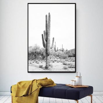 Plant Desert Cactus Wall Art Canvas Painting Nordic Wild Animal cow Decoration Posters And Prints Wall Pictures For Living Room
