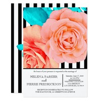 Modern Peach Roses with Stripes Card